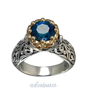 Size 6-10 Sterling Silver & 14K Gold Sapphire Ring